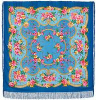 Пелагея 1544-13, павлопосадский платок шерстяной (с просновками) с шелковой бахромой   Первый сорт