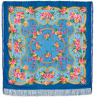 Пелагея 1544-13, павлопосадский платок шерстяной (с просновками) с шелковой бахромой, фото 1