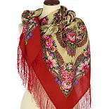 Молодушка 1511-5, павлопосадский платок шерстяной  с шелковой бахромой, фото 2