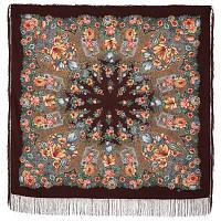 Цветочная симфония 1120-17, павлопосадский платок шерстяной (двуниточная шерсть) с шелковой бахромой   Первый сорт    СКИДКА!!!