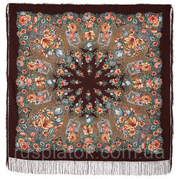 Цветочная симфония 1120-17, павлопосадский платок из двуниточной шерсти с шелковой бахромой. Первый сорт