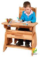 Дитяча дерев'яна парта Mobler 60 см без ящика з похилою стільницею