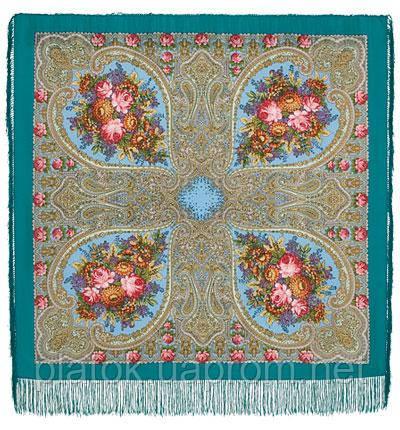 Осенние кружева 1471-11, павлопосадский платок шерстяной с шелковой бахромой