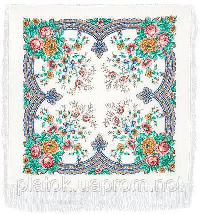 Ласковое утро 1397-2, павлопосадский платок шерстяной  с шелковой бахромой   Первый сорт
