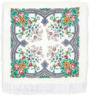 Ласковое утро 1397-2, павлопосадский платок шерстяной  с шелковой бахромой   Первый сорт, фото 1