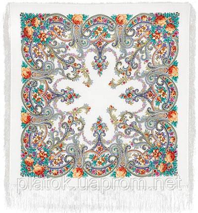 Милый друг 1345-2, павлопосадский платок шерстяной  с шелковой бахромой