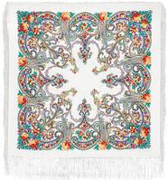Милый друг 1345-2, павлопосадский платок шерстяной  с шелковой бахромой   Первый сорт    СКИДКА!!!