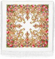 Милый друг 1345-3, павлопосадский платок шерстяной  с шелковой бахромой   Первый сорт