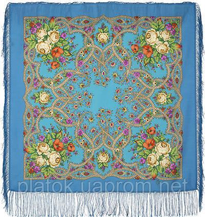 Марья-искусница 1606-13, павлопосадский платок шерстяной  с шелковой бахромой