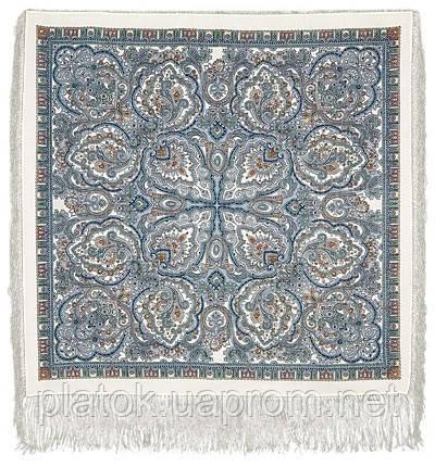 Русское золото 529-5, павлопосадский платок шерстяной  с шелковой бахромой