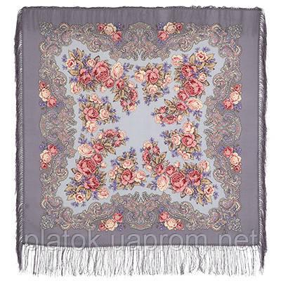 Румянец 1540-1, павлопосадский платок шерстяной  с шелковой бахромой