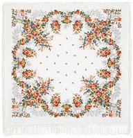 Первое свидание 1384-2, павлопосадский платок (шаль, крепдешин) шелковый с шелковой бахромой, фото 1