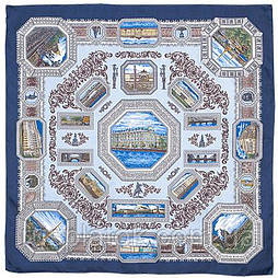 Санкт-Петербург 584-14, павлопосадский платок (крепдешин) шелковый с подрубкой