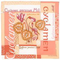 Цикламен 1271-3, павлопосадский шейный платок (крепдешин) шелковый с подрубкой   Первый сорт    СКИДКА!!!