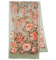 Райский сад 10039-10, павлопосадский шарф шелковый крепдешиновый с подрубкой   Первый сорт    СКИДКА!!!