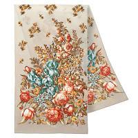 Нежное прикосновение 1398-3, павлопосадский шарф шелковый крепдешиновый с подрубкой   Первый сорт    СКИДКА!!!