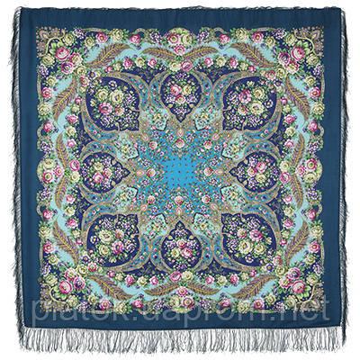 Царевна Несмеяна 1541-12, павлопосадский платок шерстяной  с шелковой бахромой