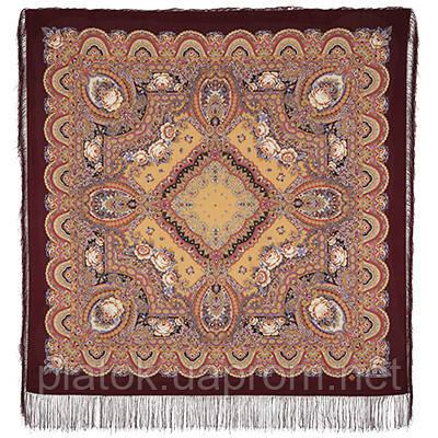 Русское раздолье 1619-7, павлопосадский платок шерстяной (двуниточная шерсть) с шелковой бахромой