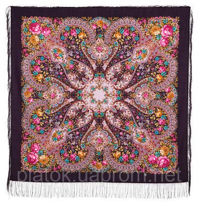Прекрасное далёко 1678-15, павлопосадский платок шерстяной с шелковой бахромой
