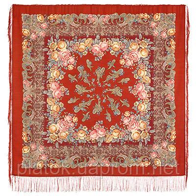 Сказка на ночь 1573-5, павлопосадский платок шерстяной с шелковой бахромой