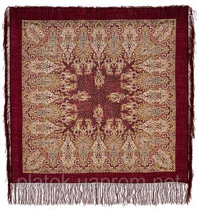 Сады Шираза 855-7, павлопосадский платок шерстяной  с шелковой бахромой