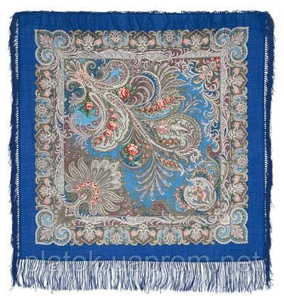 У синего моря 681-13, павлопосадский платок шерстяной  с шелковой бахромой