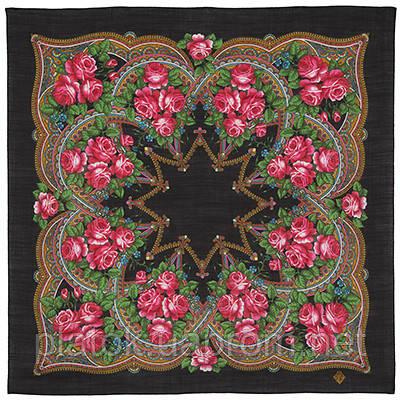 Цветочная корзиночка 1598-18, павлопосадский платок шерстяной  с осыпкой (оверлоком)