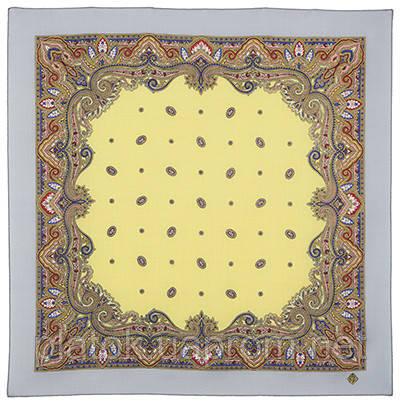 Шалфей 1151-1, павлопосадский платок шерстяной  с осыпкой (оверлоком)