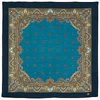 Шалфей 1151-12, павлопосадский платок шерстяной  с осыпкой (оверлоком)