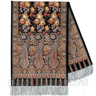 Расцветающие камни 1442-68, павлопосадский шарф-палантин шерстяной с шелковой бахромой