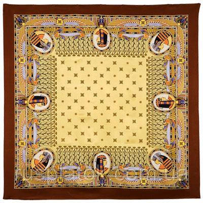 Скарабей 1252-16, павлопосадский платок (атлас) шелковый с подрубкой   Стандартный сорт