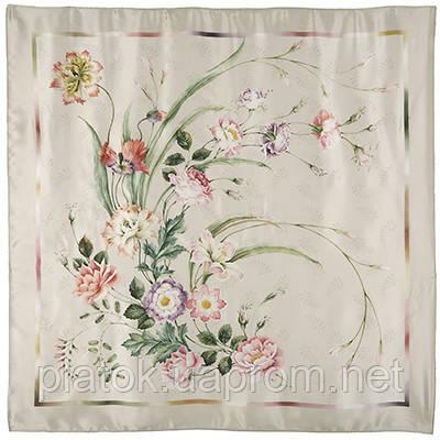 Лунный сад 10018-1, павлопосадский платок (атлас) шелковый с подрубкой
