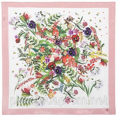 Любимая полянка 10057-3, павлопосадский шейный платок (крепдешин) шелковый с подрубкой