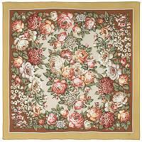 Чайные розы 1443-2, павлопосадский платок (крепдешин) шелковый с подрубкой   Стандартный сорт    СКИДКА!!!