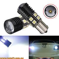 Авто-лампы P21W 1 CREE + 12 SMD LED (BA15S, 1156, светодиодные лампы заднего хода, габариты, стопы)
