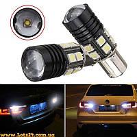 Авто-лампы P21W 1 CREE + 12 SMD LED (BA15S, 1156, светодиодные с линзой габариты, стопы, поворты)