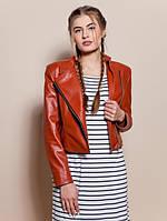 Женская кожаная куртка КОСУХА  рыжая р.42-50