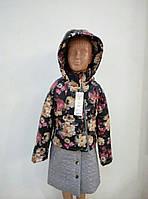 """Демисезонная куртка-трансформер с отстежной юбкой """"Роза"""" (Черный принт с графитовым)"""