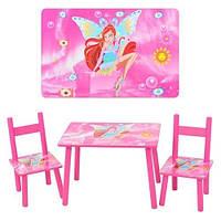 Детский столик 2547-36 со стульчиками WINX розовый