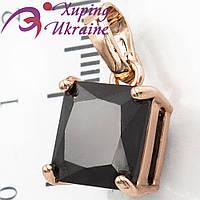 Подвеска позолота, квадратный камень(1,0х1,0 см)