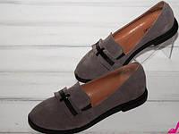 Женские замшевые туфли-лоферы капучинно
