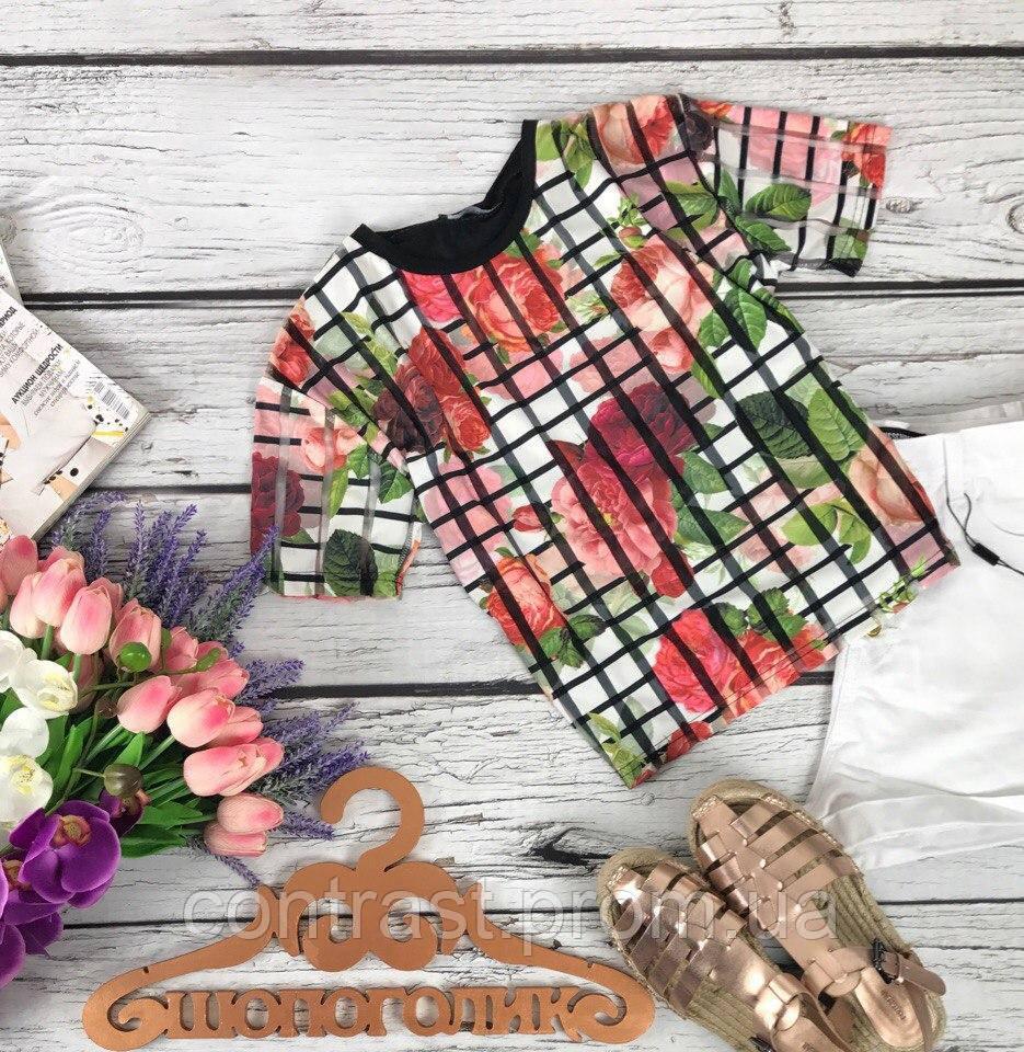 Женственная футболка в яркий цветочный принт с прозрачными вставками  TS33229