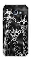 Оригинальный чехол для Samsung Galaxy A3 2017 A320 с картинкой три жирафа в очках