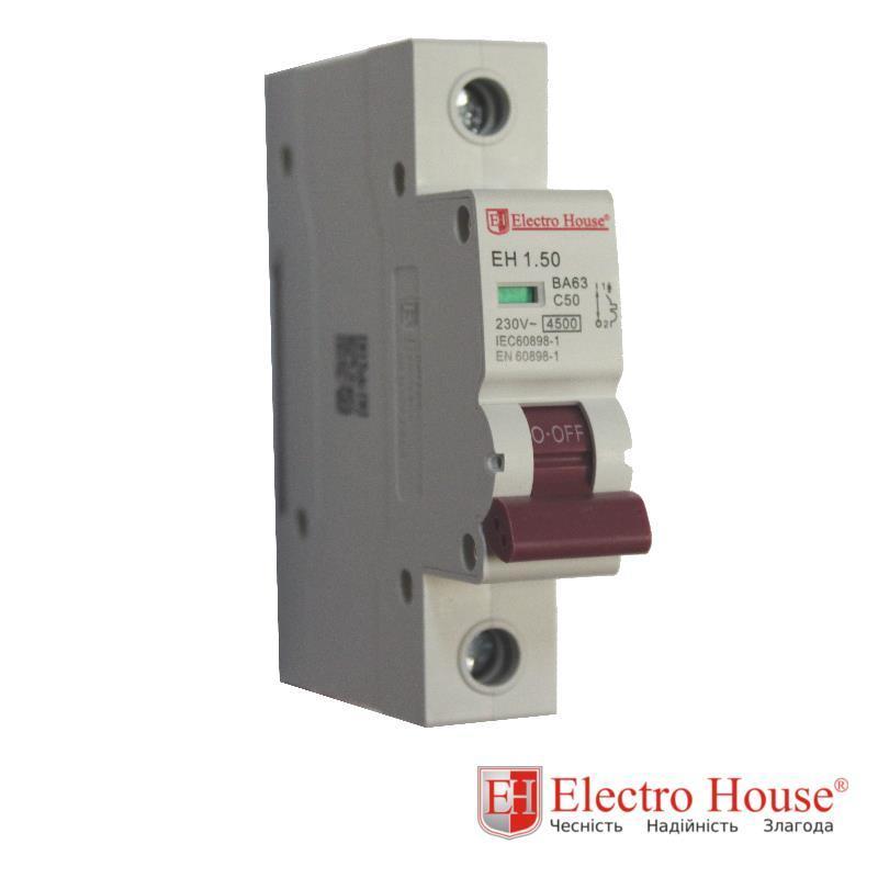 Автомат однополюсный 50A, 4,5kA Electro House