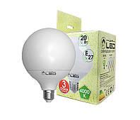 Светодиодная лампа Е27, 20W (Глобус), 4000К