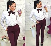 Костюм женский брюки+рубашка, цвет - марсала