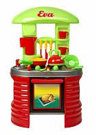 Детская  Кухня (04-405) стойка с посудой, вытяжка, полочки, чайник, молочник,чашки, блюдца,