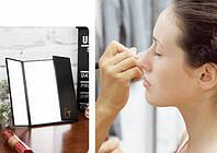 LED Зеркало для макияжа на подставке в виде книжечки (Черное)