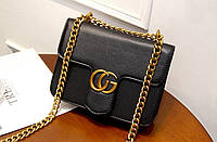 Новинка! Стильная женская сумка Gucci GG Marmont на цепочке черного цвета