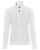 Мужской вязанный свитер белого цвета Tevin от Solid  в размере XL